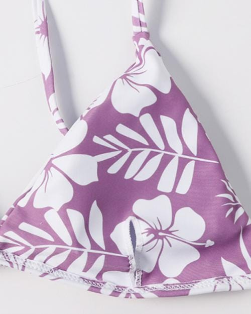 Purple And White Floral Print Bikini Set