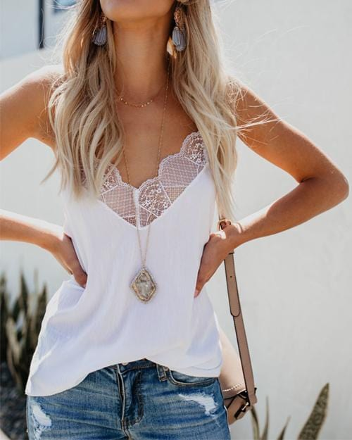 Solid Lace V-neck Splicing Camisole