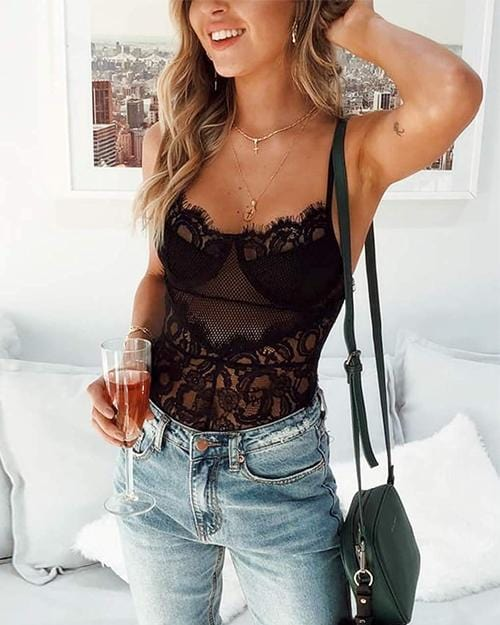 See Through Floral Babydoll