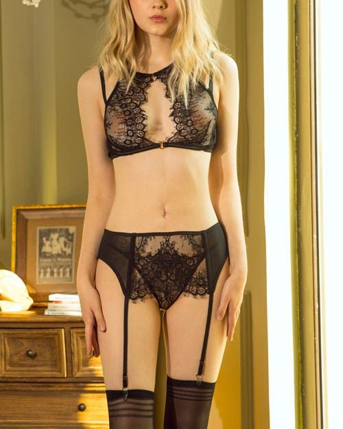Black Petal Ocean Lace Intimate