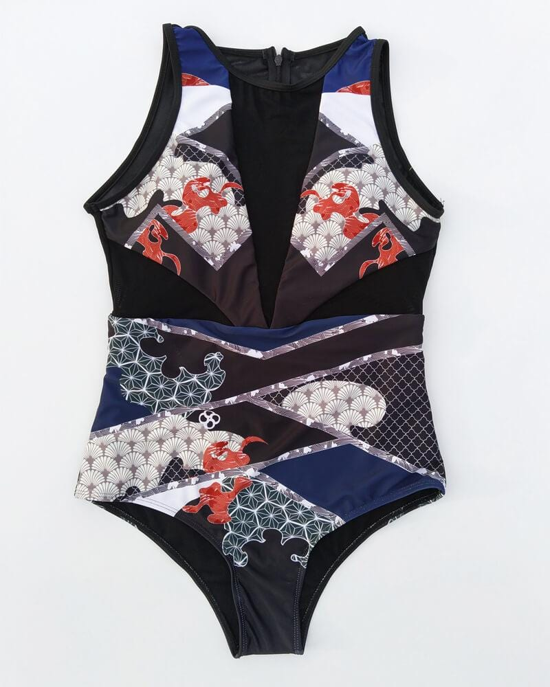 Flower And Lace One-Piece Swimsuit