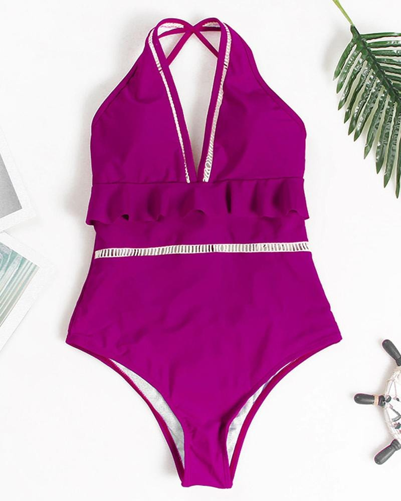 Purple Falbala One -Piece Swimsuit