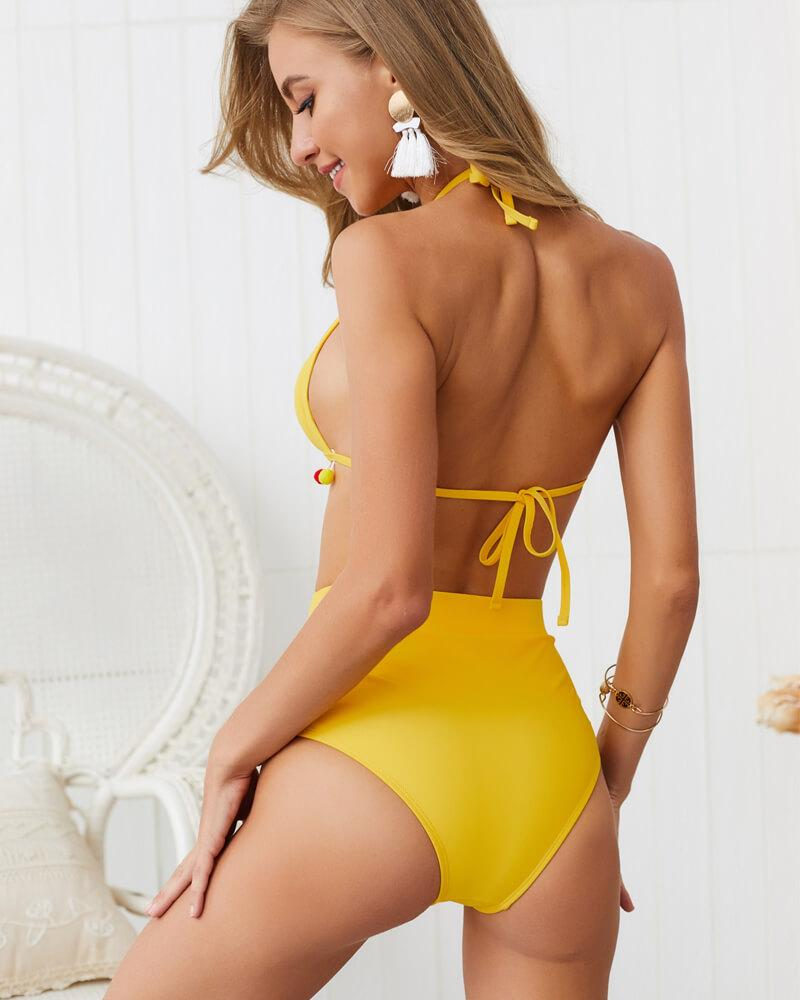 Halter Splicing High-Waisted Bikini Set