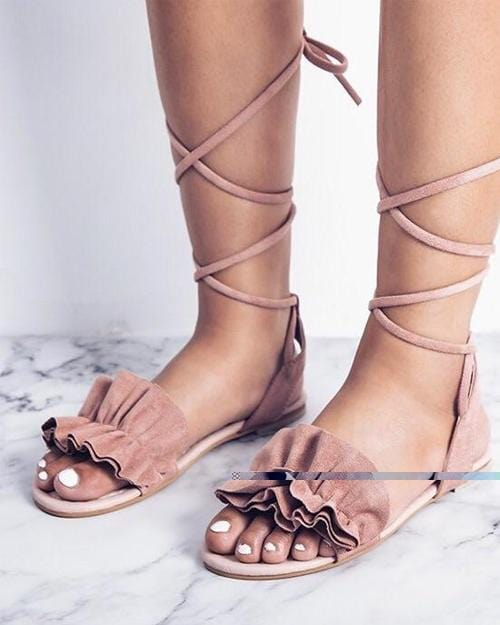 Ruffle Lace Up Casual Flat Sandals