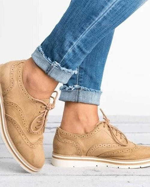 Lace Up Perforated Oxfords Shoes