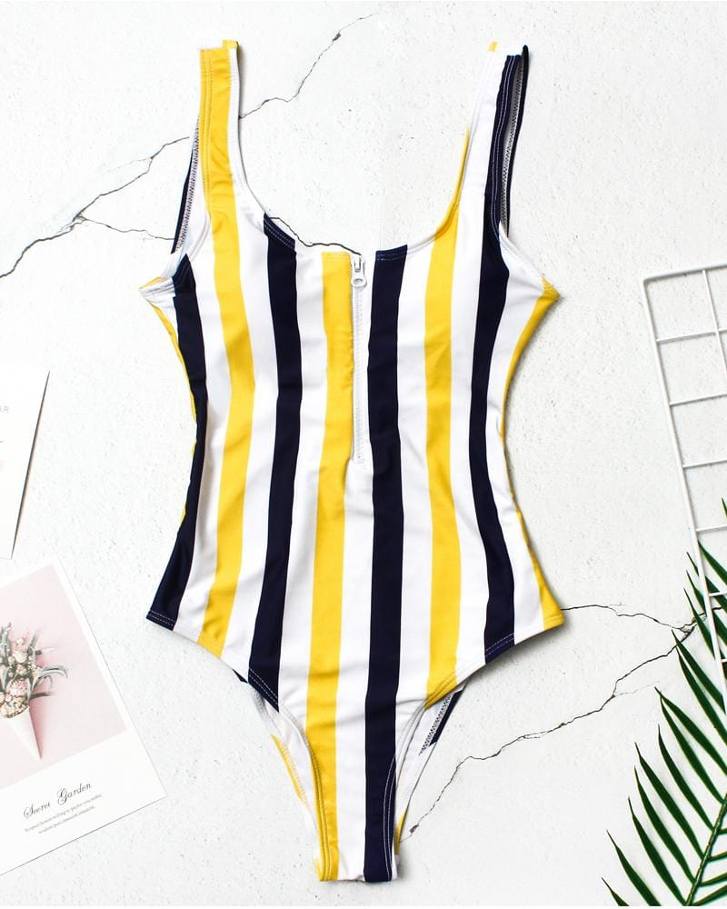 Stripe One-piece Swimsuit Set