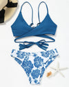 Blue Crochet And Floral Wrap Bikini Set
