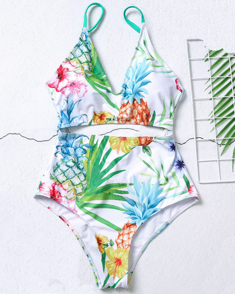 White Floral Print One-Piece Swimsuit
