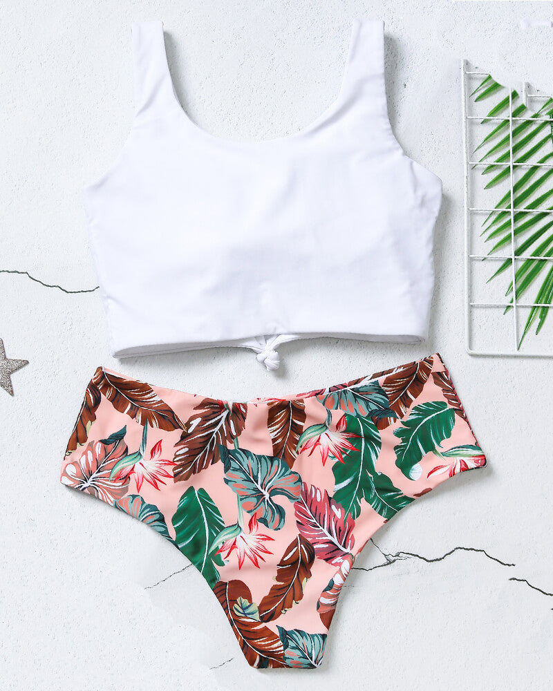 White And Floral Print Bikini Set