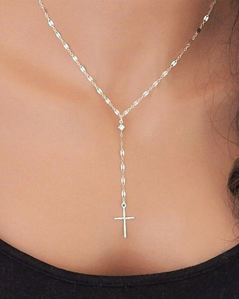 Golden And Silver Cross Necklace