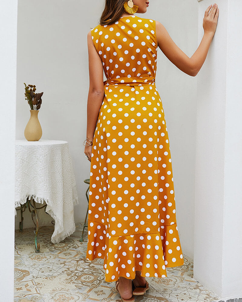Polka-dot Sleeveless Dress
