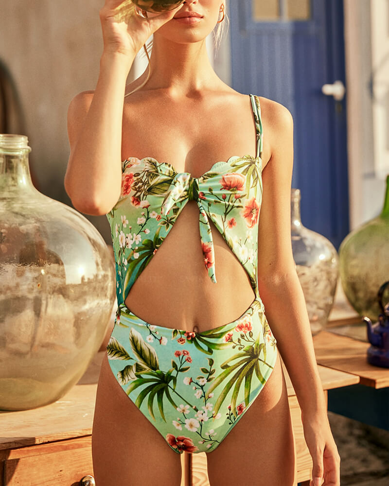 Floral Print One-Piece Bikini Set