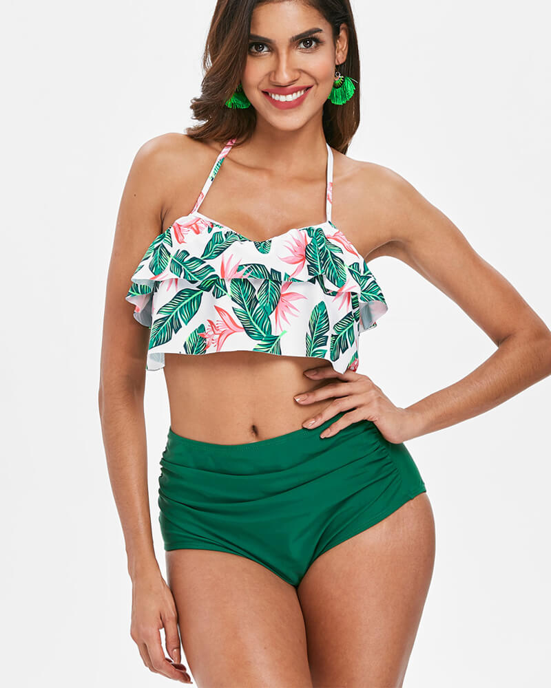 Falbala Halter Design High-Waisted Bikini Set
