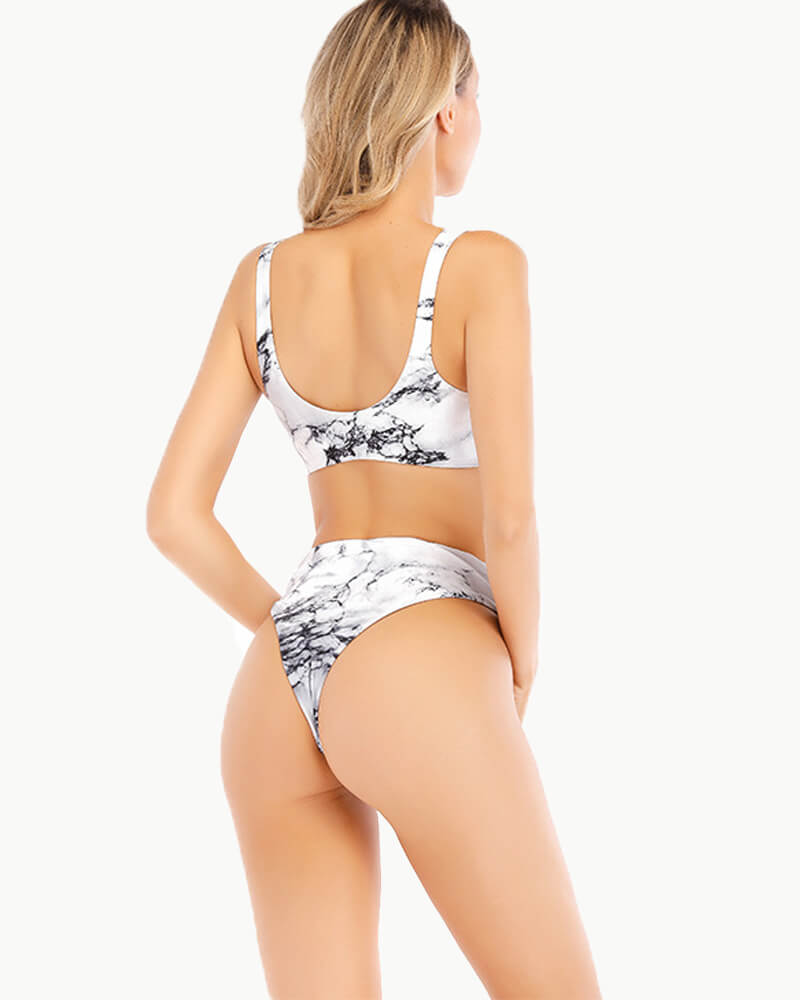 Bow At Front Floral Print Bikini Set
