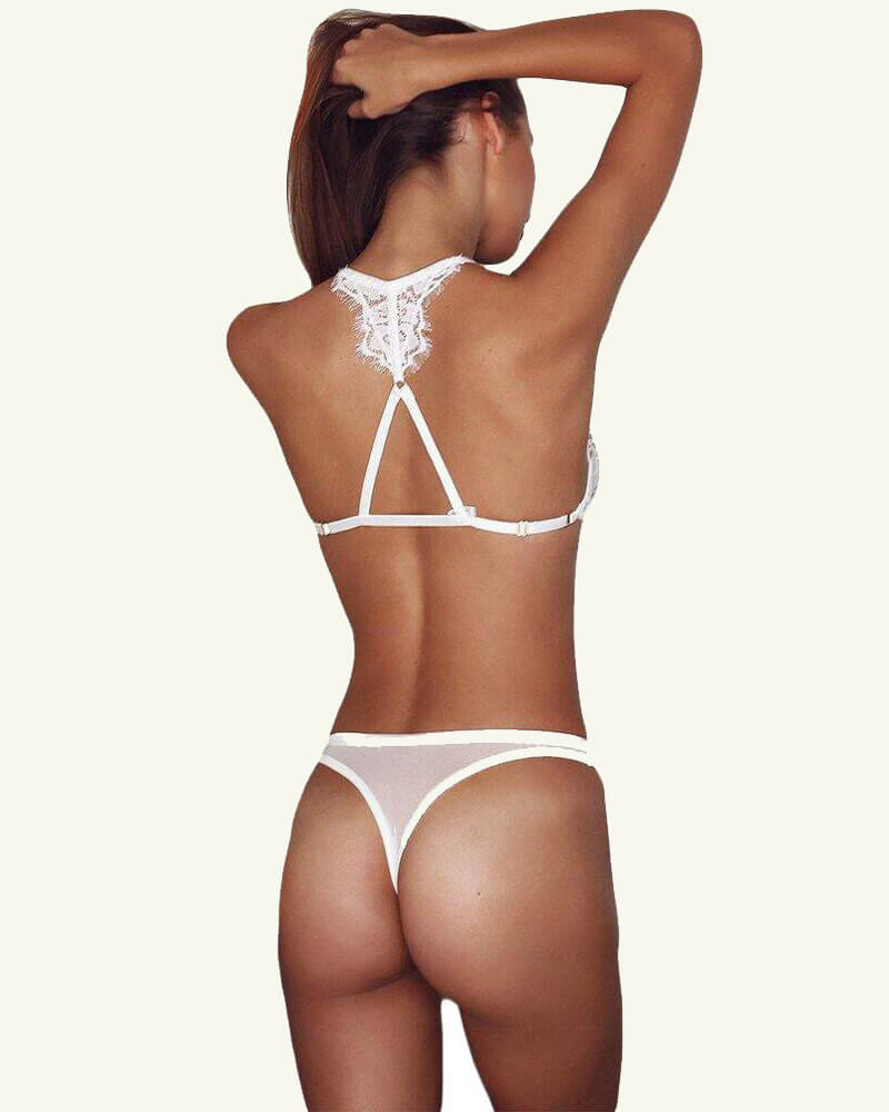 White See Through Backless Lace Panty Set