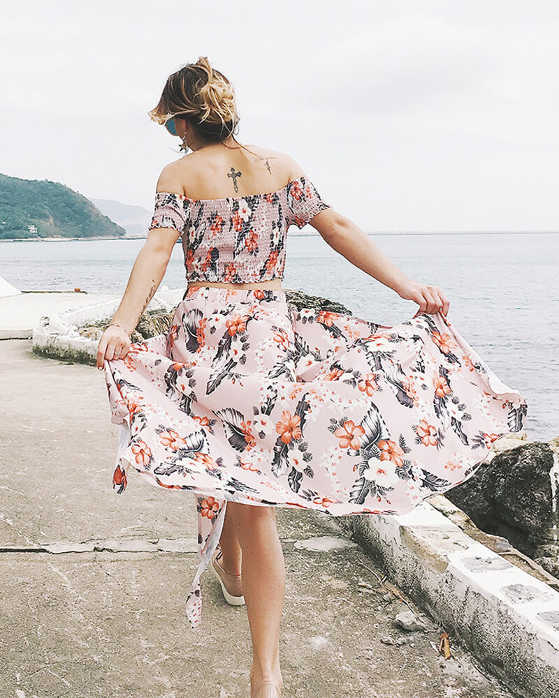 Off Shoulder Floral Print Dress Suit
