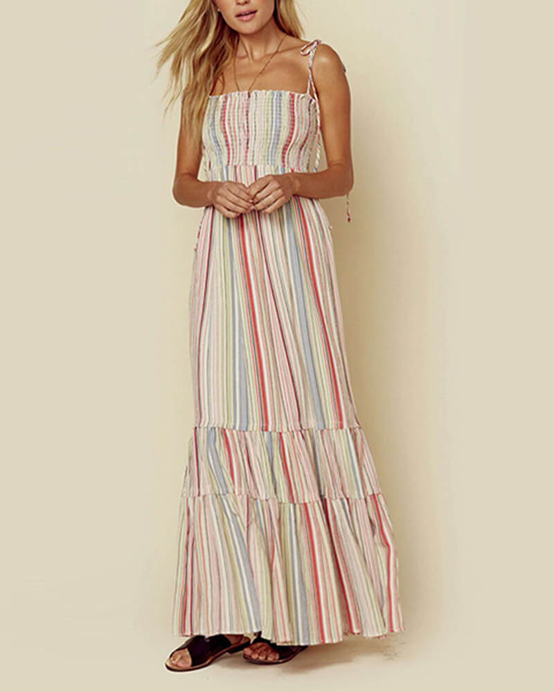 Bohemian Striped Print Spaghetti Straps Long Dress