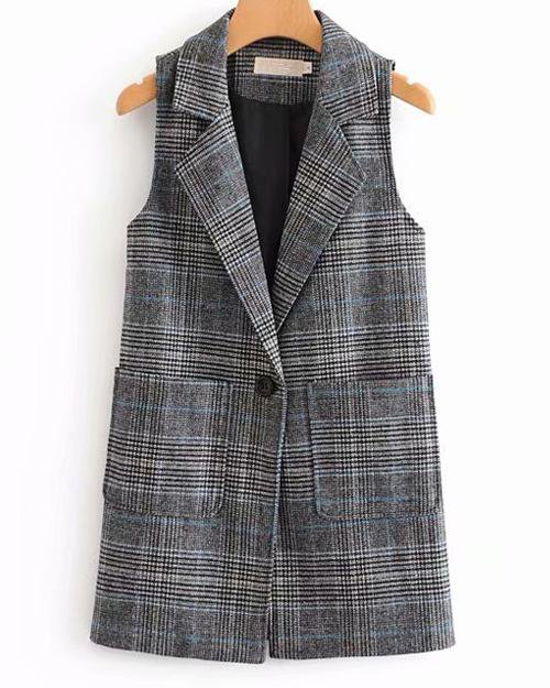Sunygal Plaid Blazer Casual Vest Outwears