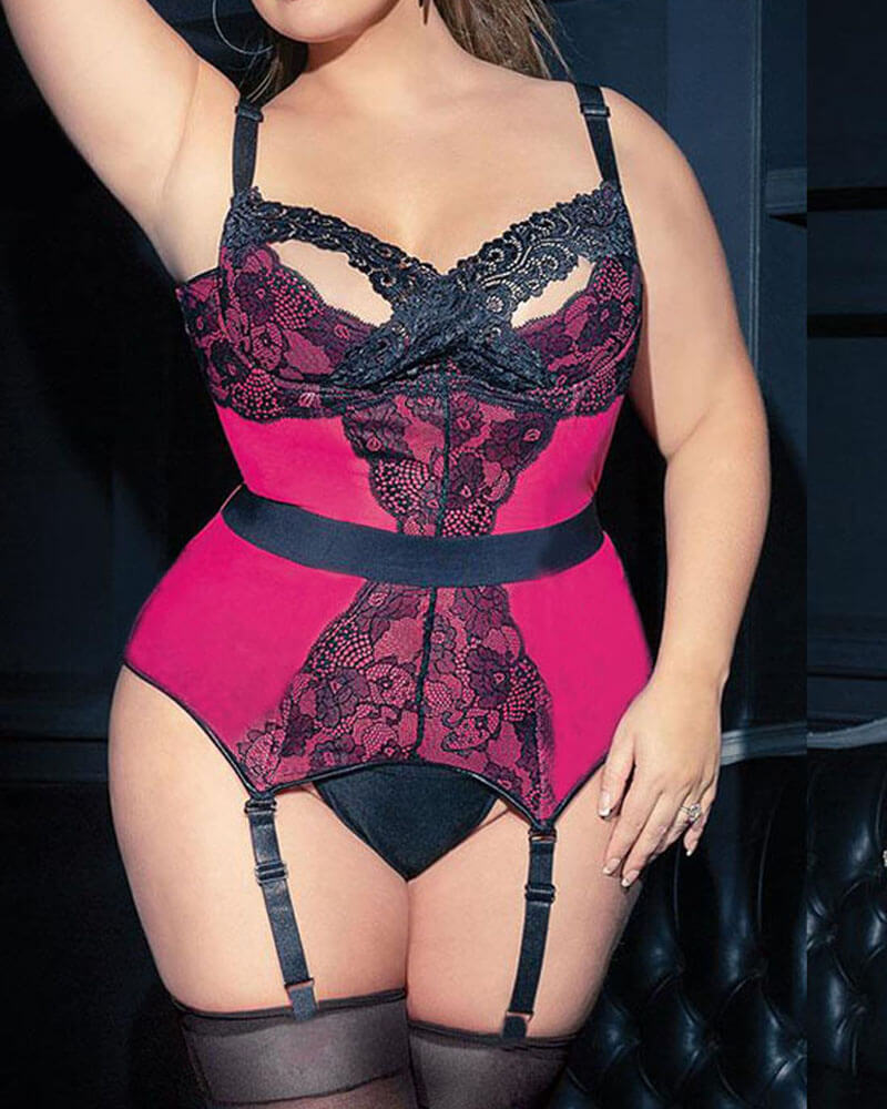 Plus Size Red Floral Lace Teddy
