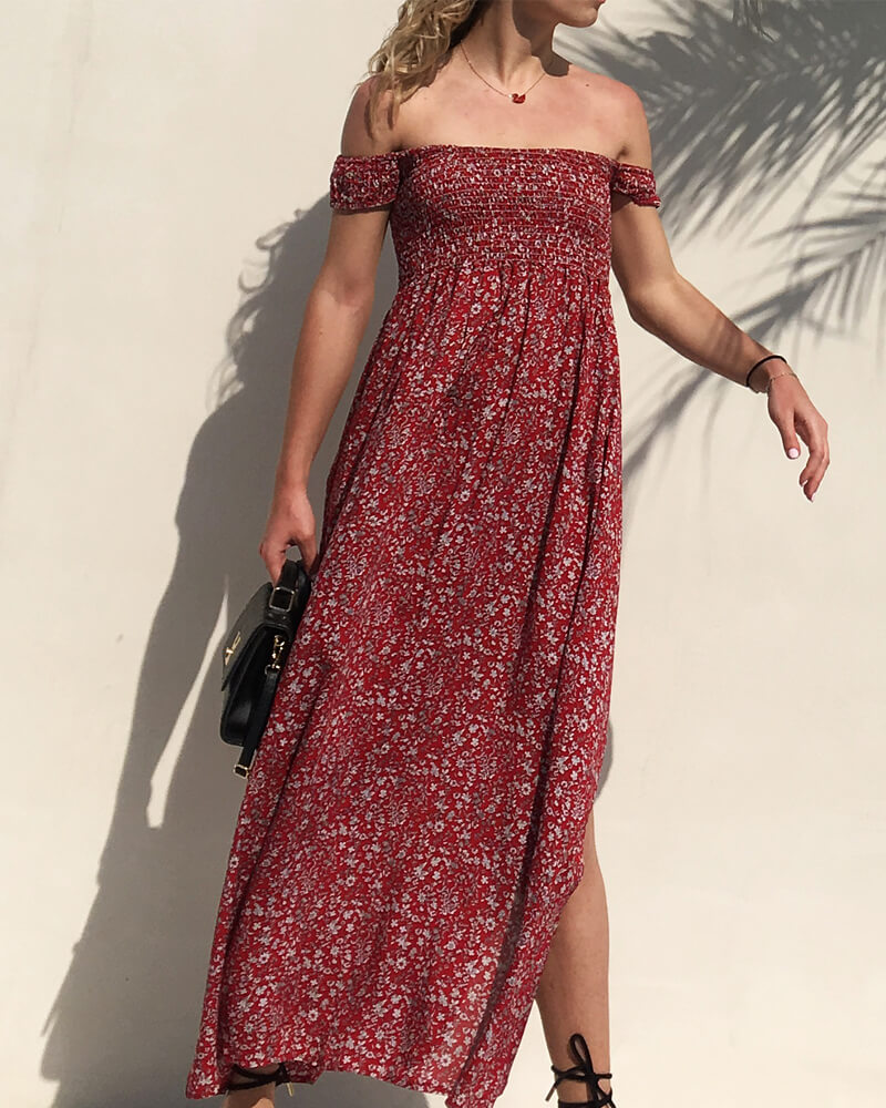 Floral Off Shoulder Long Dress