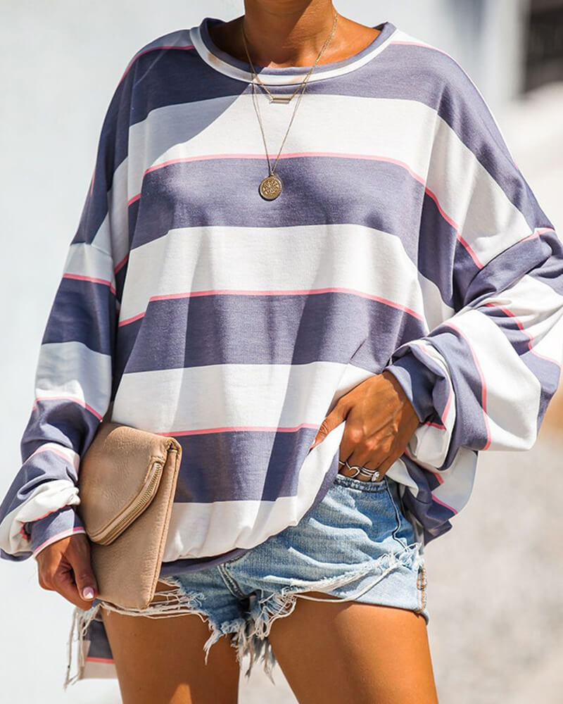 Loose Coarse Stripe Pattern Sweatshirt