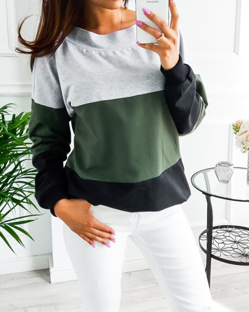 Tie At Back V Neck Sweatshirt