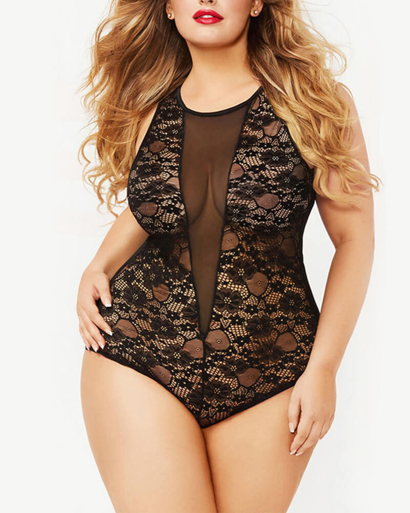 Plus Size Stretchy One-Piece Lingerie