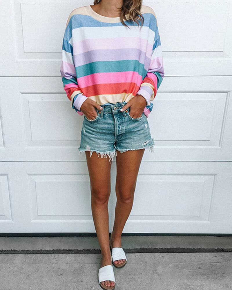 Color Stripe Loose T Shirt