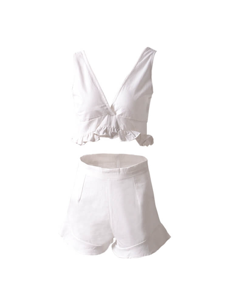 White Ruffles Deep V Neck Suit