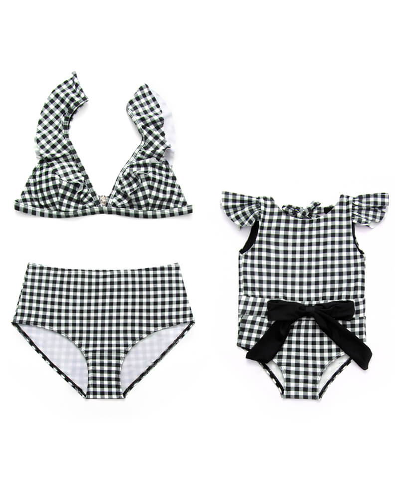 Ear-Bordered Plaid Matching Bikini