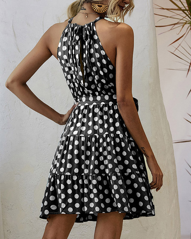 Classical Dot Sleeveless Mini Dress