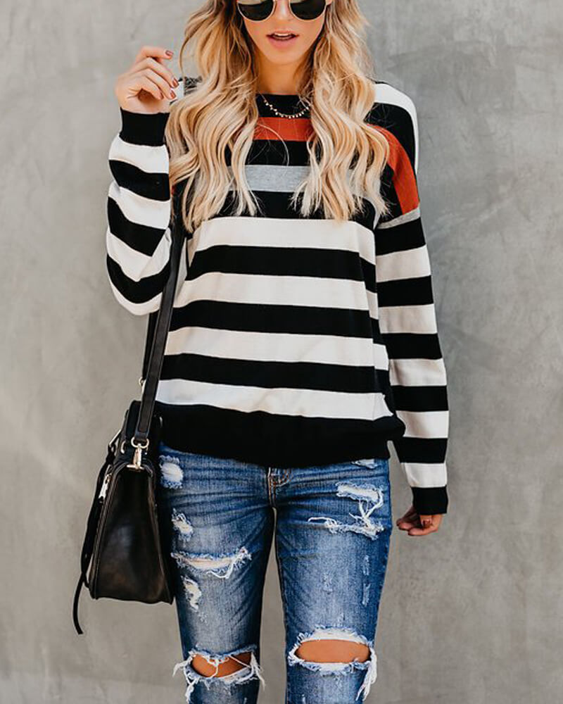 Stripes Print Long Sleeve T Shirt