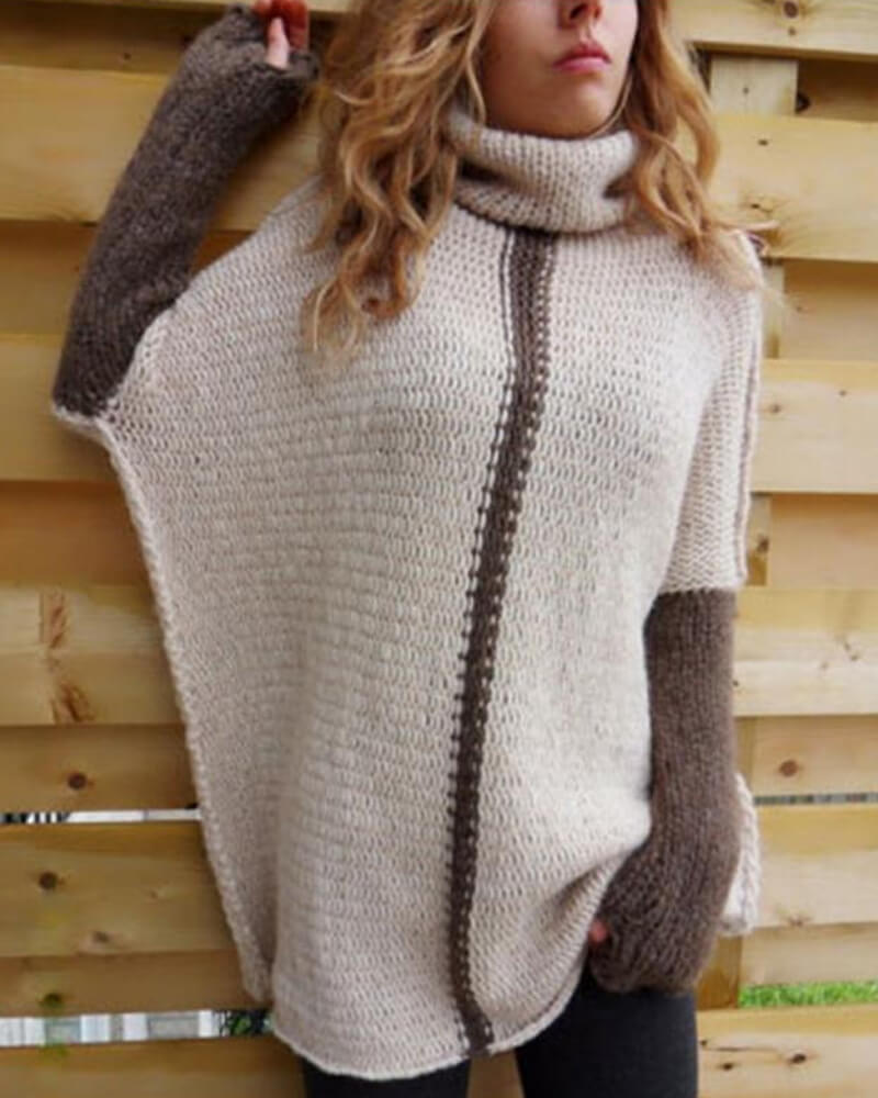 Oversized Roll-Neck Batwing Sweater