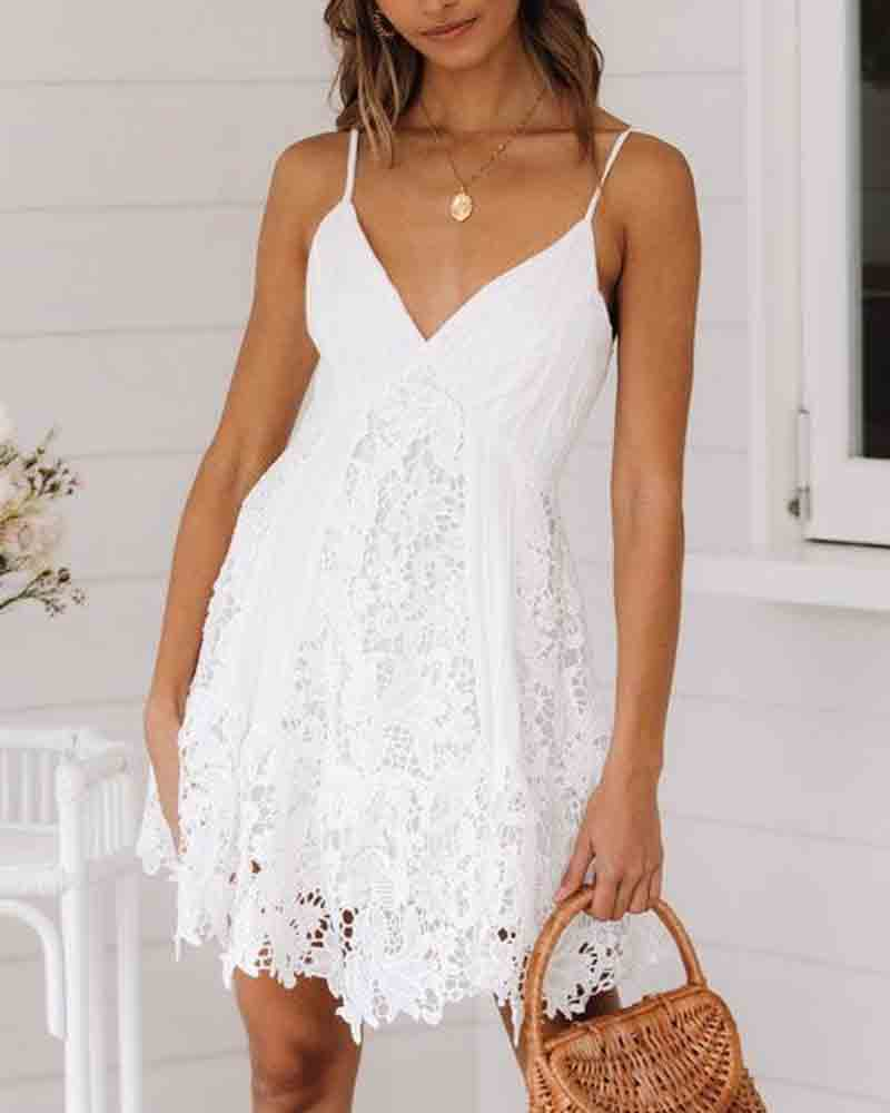 Halter Lace Stitching Dress