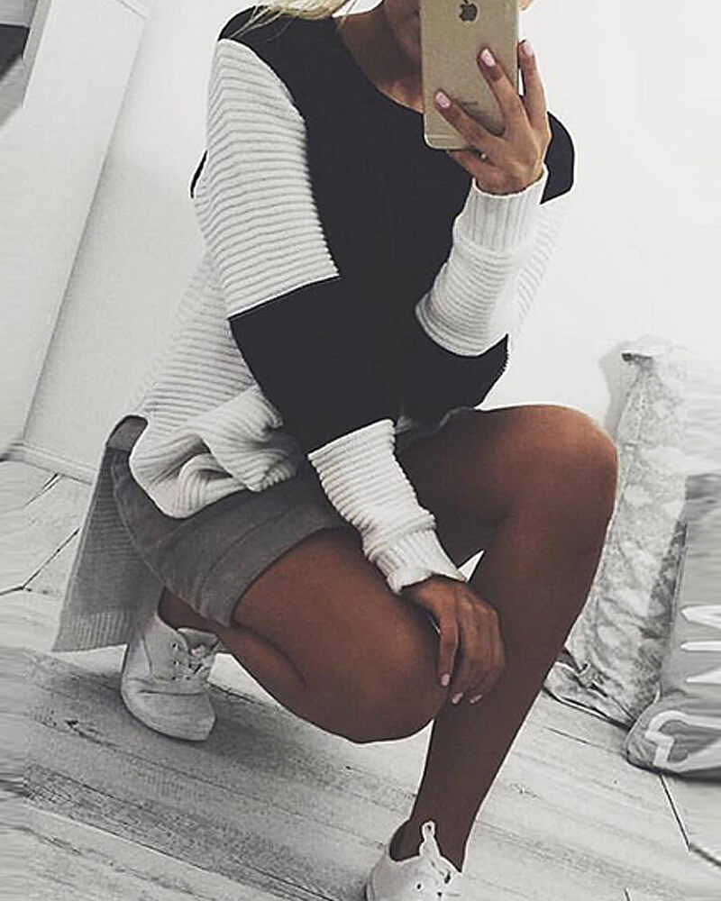 Contrast Color Round Neck Sweater