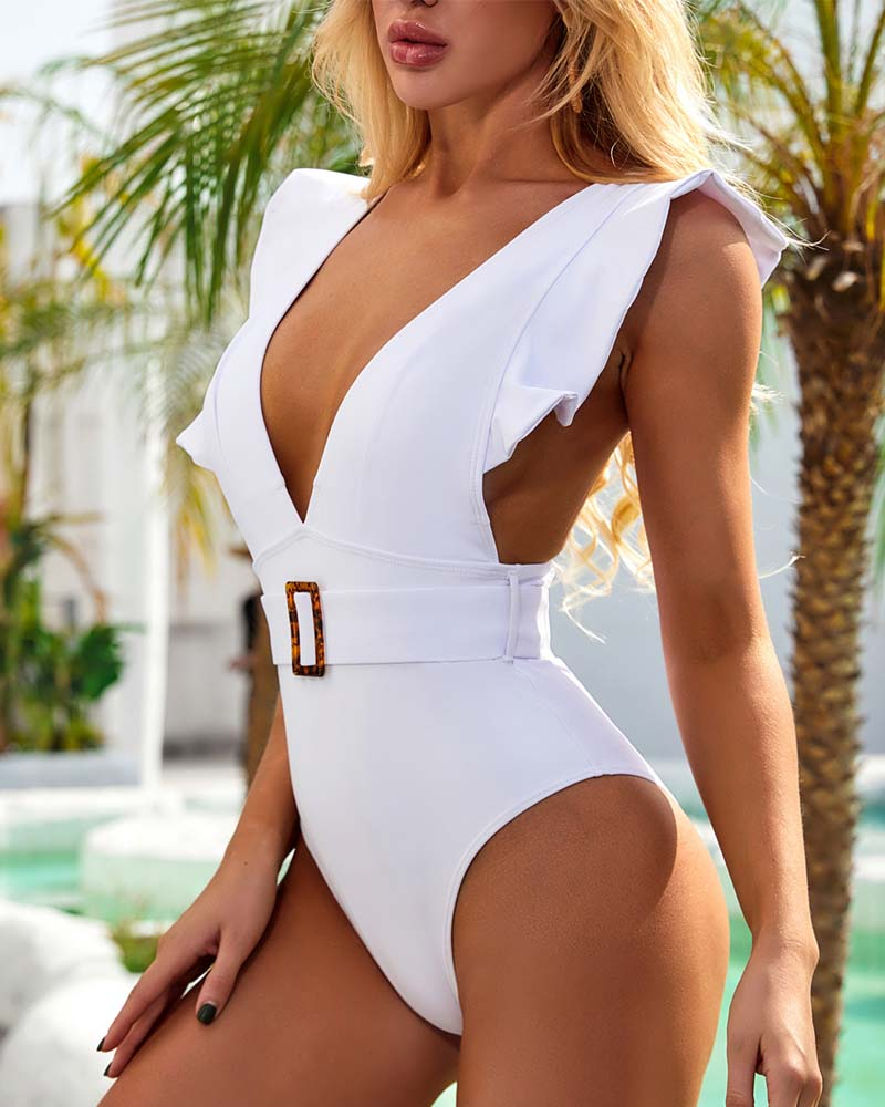 Plunging Ruffles One-piece Swimsuit