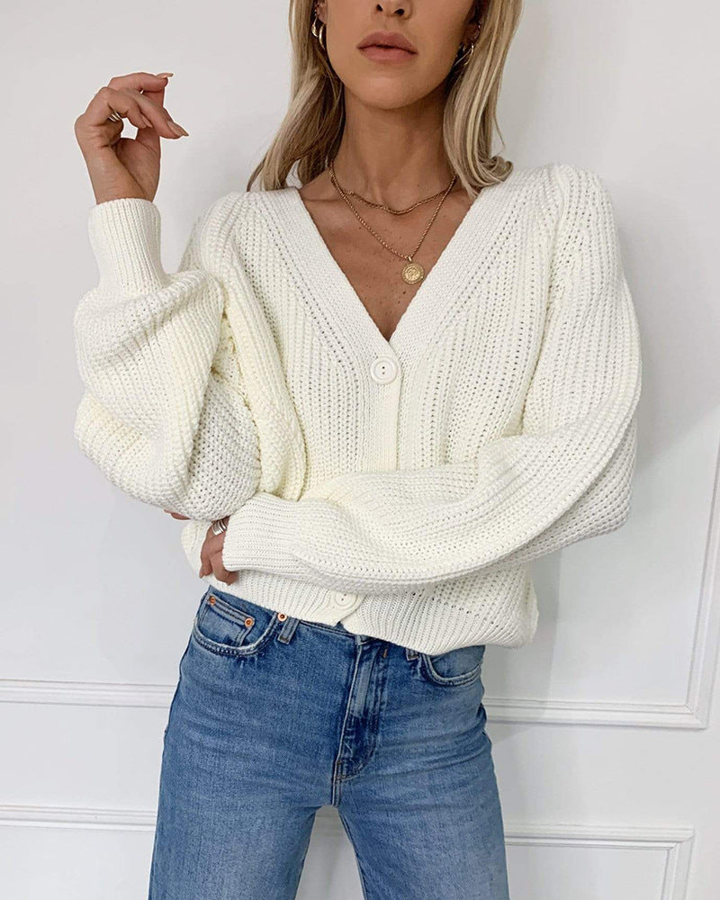 Sunygal Women Chunky Knitted Cardigan Acrylic Long Sleeve Knit Sweater