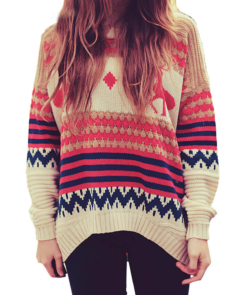Christmas Deer Pattern Pullover Loose Sweater