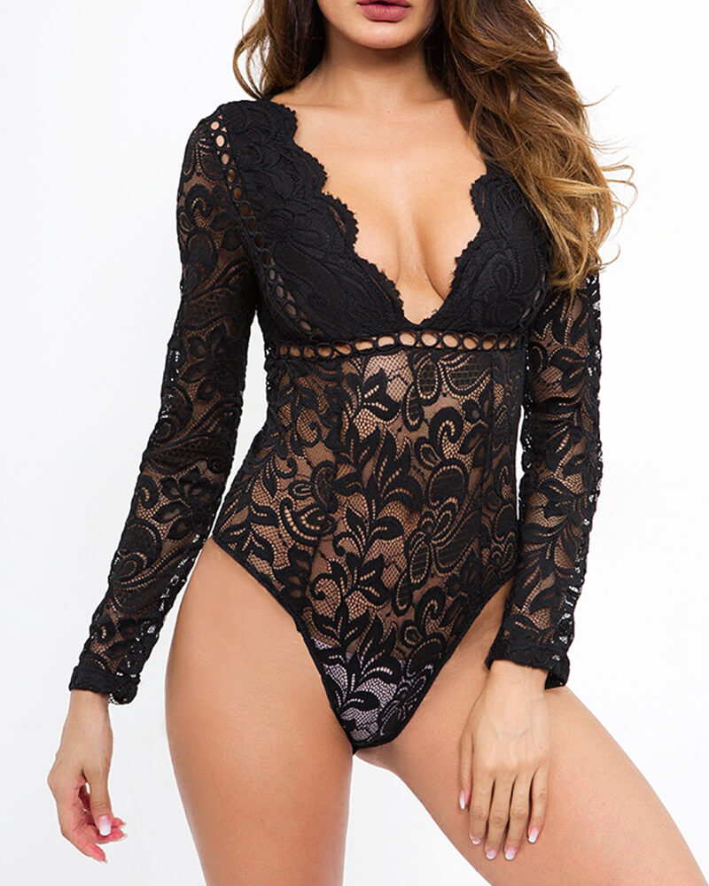 Sheer Plunging Hollow Out Lace Bodysuit