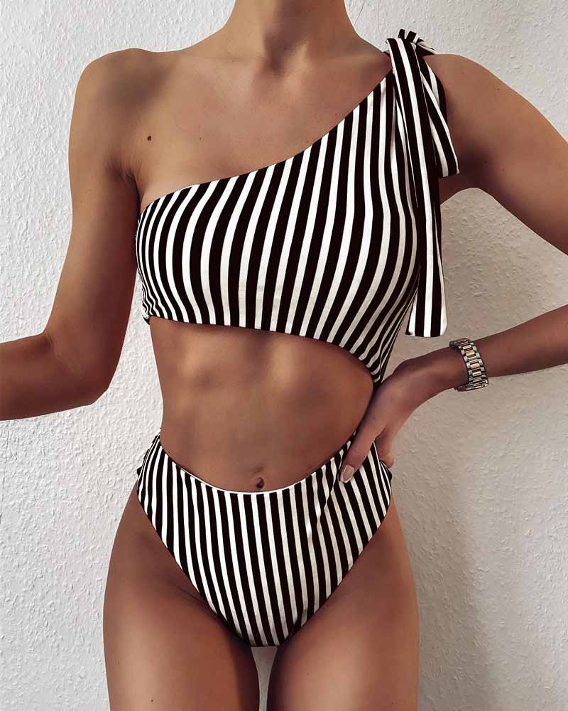 Striped One-Shoulder Hollow One-Piece Swimwear