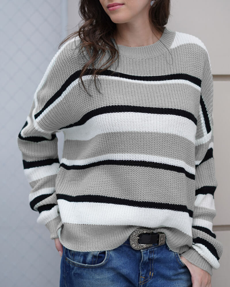 Contrasting Color Stripes Knit Pullover