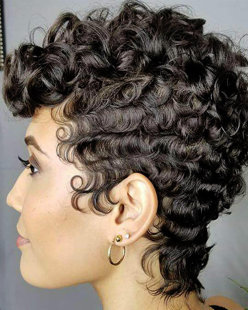 Black Small Curly Hair Synthetic Wig