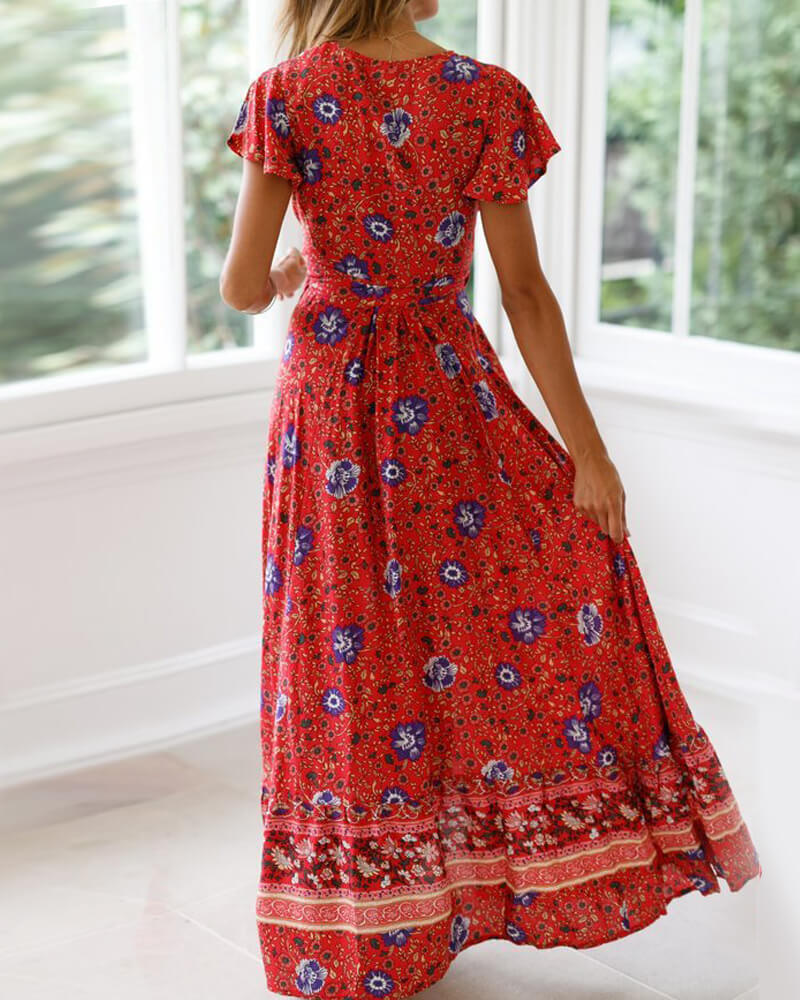 Falbala Floral Print Bohemia Long Dress