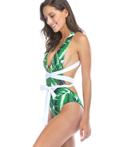 Stripe Cross Leaf Print One-Piece Swimsuit