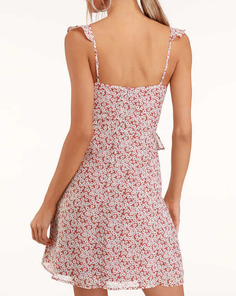 Pink Floral Print Ruffled Dress