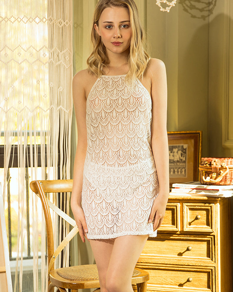 Embroidered Sleeveless Lace Dress