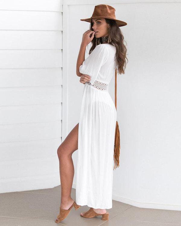 Sunygal White Long Cover Up Dress