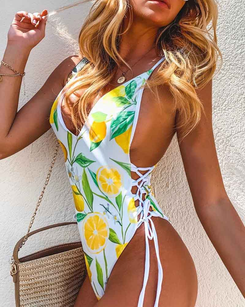 Lemon Lace-Up V-Neck One-Piece Swimsuit