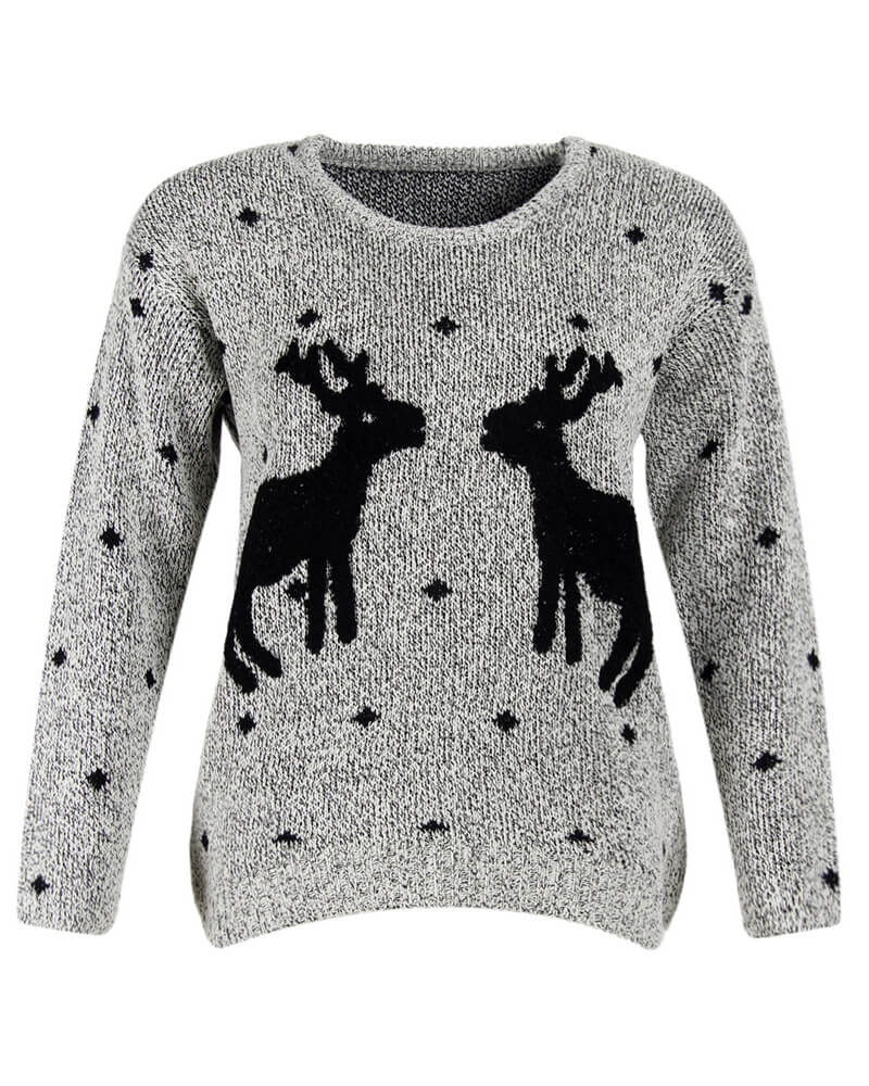 Jacquard Christmas Deer Pattern Pullover Sweater