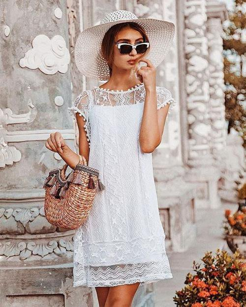 Fringe Lace White Dress 30%OFF
